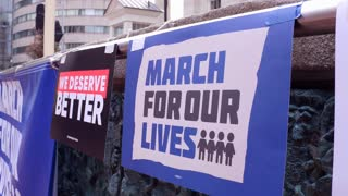 March for our Lives sign hanging across stage in Dayton Ohio 4k