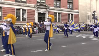 Marching band and color guard in Macys Parade 4k