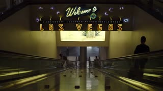 Neon Welcome to Las Vegas sign at airport