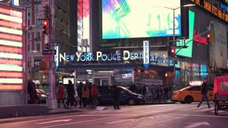 New York City Police Department in downtown Times Square 4k