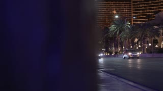 Night time in downtown Las Vegas establishing shot 4k