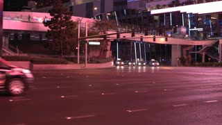 Night time Las Vegas intersection establishing shot 4k