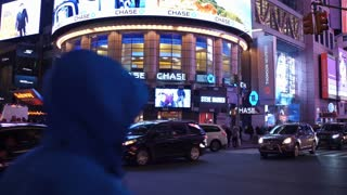 Night time traffic in downtown NYC 4k