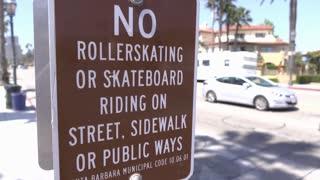 No Rollerskating or skateboarding sign in Santa Barbara 4k