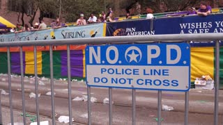 NOPD police sign on barricade for Mid City Parade 4k