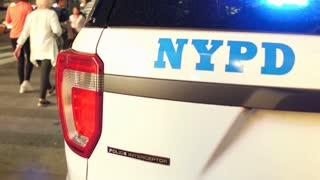 NYCP police lights on back of vehicle flashing 4k