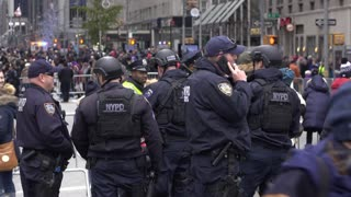 NYPD Police Officers patrolling after 90th Macys Parade 4k