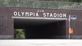 Olympia Stadion sign in Berlin Germany 4k