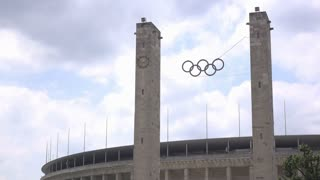 Olympic rings at stadium in Berlin Germany 4k