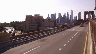 Overlooking city from Brooklyn Bridge traffic