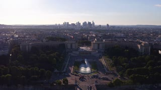 Overview aerial looking at city of Paris France 4k
