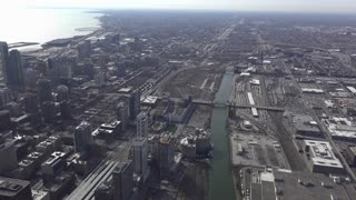 Overview aerial view of downtown Chicago 4k
