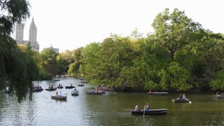 Paddle boats in Central Park of New York City 4k