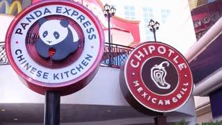 Panda Express and Chipotle restaurant sign 4k