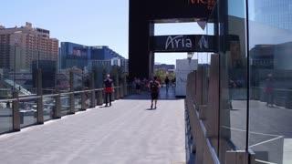 Pedestrian bridge to Aria in Las Vegas 4k