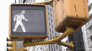 Pedestrian crossing light in big city goes from walk to do not walk 4k