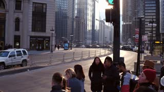 Pedestrians on downtown city streets of Chicago 4k