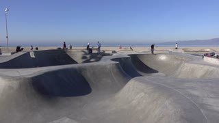 People at skate park in Venice Beach California 4k