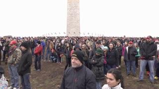 People at Washington Monument watching Inauguration 2017 4k