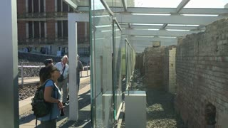 People visiting Berlin Wall memorial in downtown