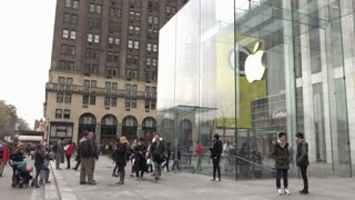 People visiting New York City Apple Store 4k