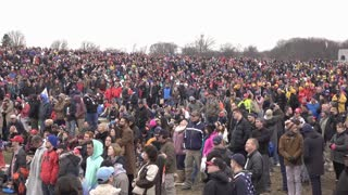 People watching inauguration from Washington Monument ground 4k