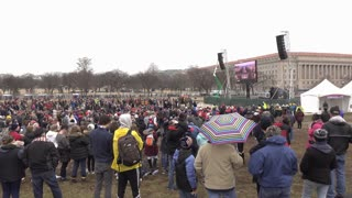 People watching television screen from of Trump inauguration 4k