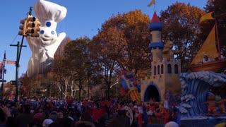 Pillsbury Doughboy balloon in 91st Macys Thanksgiving day parade 4k