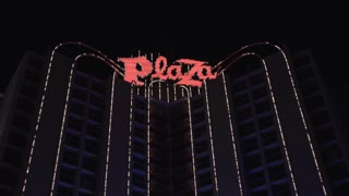 Plaza Hotel and Casino in downtown Fremont Street Las Vegas 4k