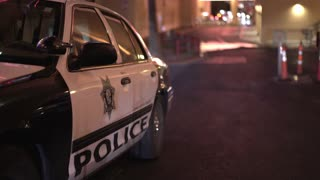 Police parked in alley of Las Vegas downtown 4k