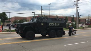 Police Tactical Rescue vehicle in July 4th Parade Beavercreek Ohio