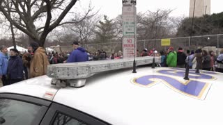 Police vehicle along inauguration line to enter National Mall 2017 4k