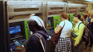 Purchasing tickets in subway station NYC 4k