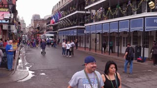 Quiet afternoon on Bourbon Street during Mardi Gras 4k