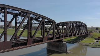 Railroad tracks across Miami River bridge in Dayton Ohio
