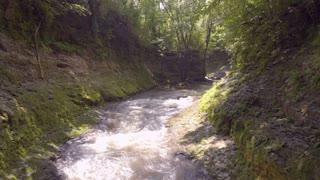 Rapid water going through canyon