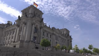 Reichstag dome along Spree river 4k