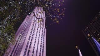 Rockefeller Center seen from ground looking up establishing shot 4k