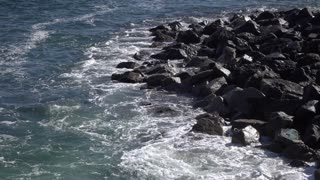 Rocky shore of ocean with waves coming in 4k