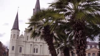 Saint Louis Cathedral in Jackson Square establishing shot 4k