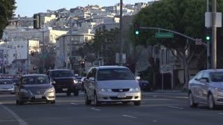 San Francisco street traffic establishing shot of city 4k