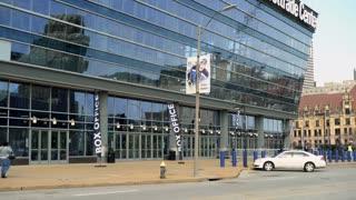 Scottrade Center in downtown St Louis establishing exterior 4k