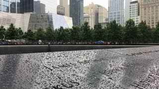 September 11th memorial with rain on names