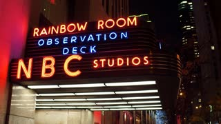 Sign outside of NBC Studios Rainbow Room observation deck 4k