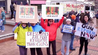 Signs Being Held At People Attending March For Our Lives Event Dayton Ohio 4K
