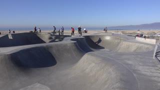 Skateboard park in Venice Beach California 4k