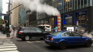 Slow motion traffic going through downtown NYC