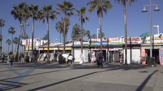 Small shops at Venice Beach California 4k