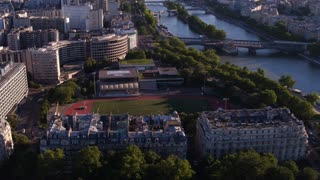 Soccer field aerial view in downtown Paris France 4k