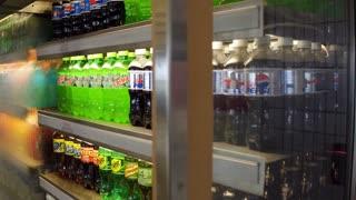 Soda drinks for sale in refrigerator 4k